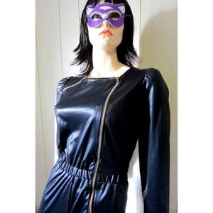 MEOW Sexy VTG Cat-Girl Black Zippered Catsuit wOw!